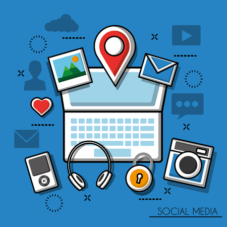 Social media networks computer with photos location messages ipad camera headphones vector illustration