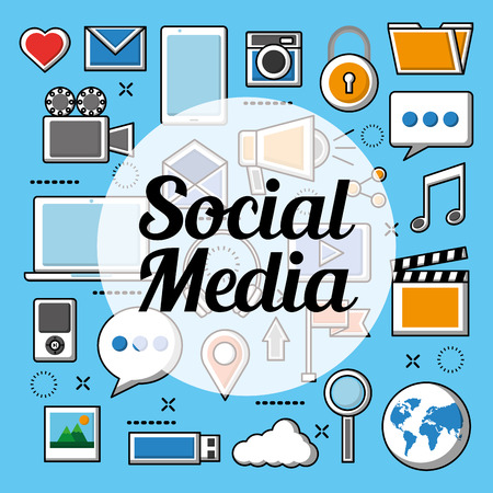 Social media networks tools for tecnology camera search photos cloud music video camera locked vector illustration