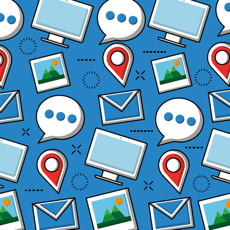 Social media networks blue background tools and tecnology vector illustration