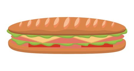 Kanapka w bagietce chleb pomidorowy ser szynka ilustracji wektorowych