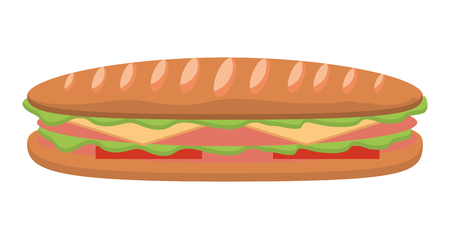 Sandwich in baguette bread tomato cheese ham vector illustration Stock Illustratie