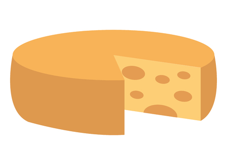 Big round cheese delicious image vector illustration