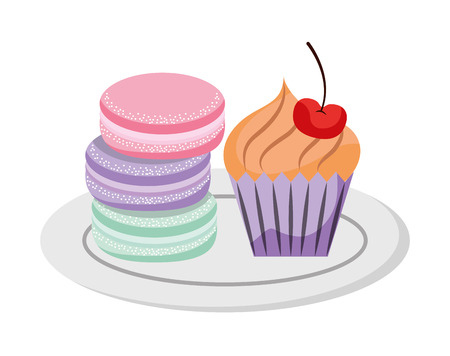 Macaroon cookies cupcake sweet bakery vector illustration