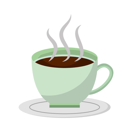 Hot coffee cup in dish aroma fresh vector illustration