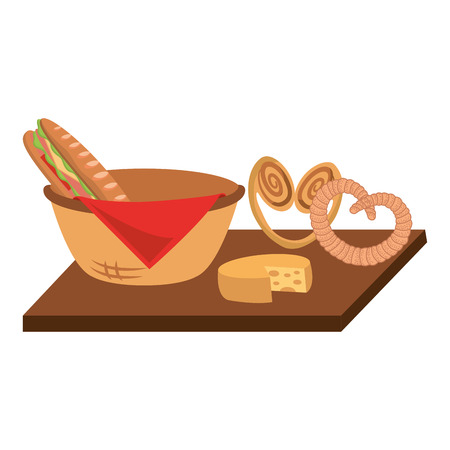 Wicker basket with sandwich and pretzel cheese on wooden vector illustration Illustration