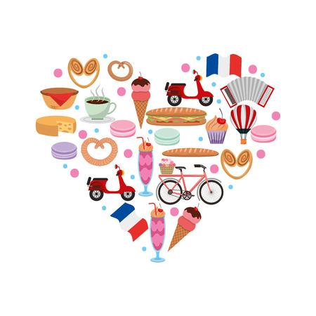Heart shape france food motorcycle pretzel bike ice cream flag cheese vector illustration Çizim