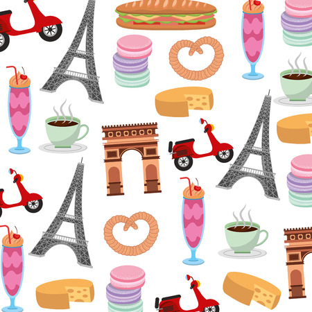 France paris background arch tower eiffel scooter macaroon image vector illustration Illustration