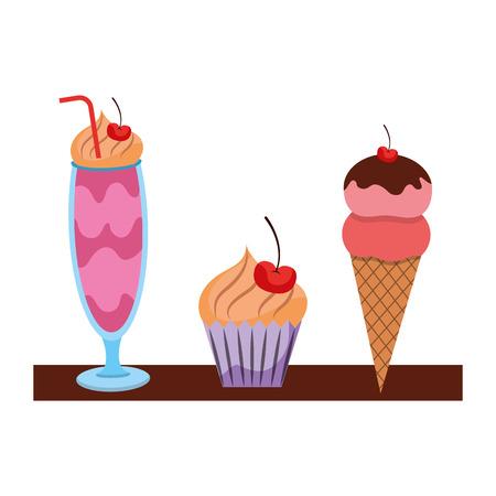 Sweet pastry bakey ice cream cupcake milkshake vector illustration