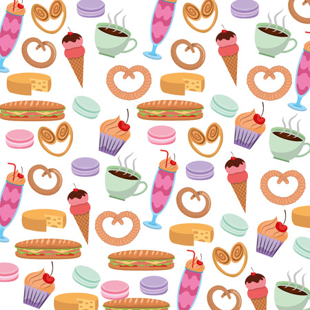 Tasty sweet ice cream cake pretzel cheese coffee pattern image vector illustration Vettoriali