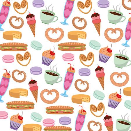 Tasty sweet ice cream cake pretzel cheese coffee pattern image vector illustration Illustration