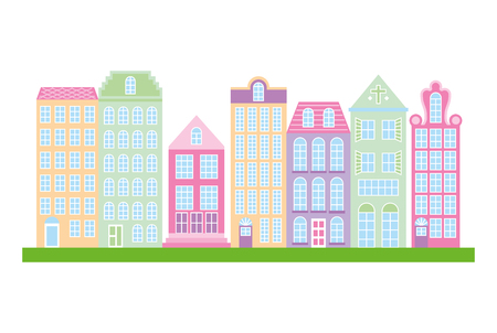 City downtown urban buildings architecture image vector illustration Illustration