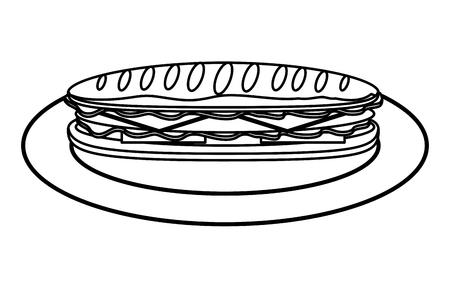 Sandwich in baguette bread tomato cheese ham vector illustration outline
