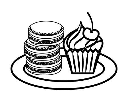Macaroon cookies cupcake sweet bakery vector illustration outline Ilustração