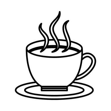 Hot coffee cup in dish aroma fresh vector illustration outline