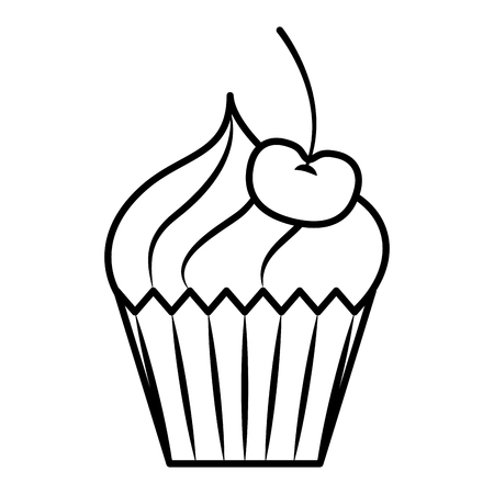 Sweet cupcake cherry cream bakery vector illustration outline