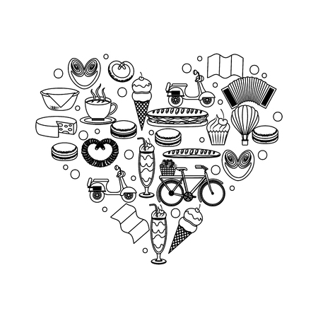 Heart shape france food motorcycle pretzel bike ice cream flag cheese vector illustration outline Illustration