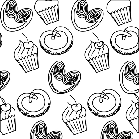 Delicious cupcakes pretzels sweet pastry pattern vector illustration outline