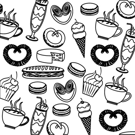 Tasty sweet ice cream cake pretzel cheese coffee pattern image vector illustration outline