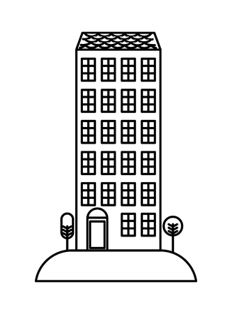 High building architecture urban image vector illustration outline