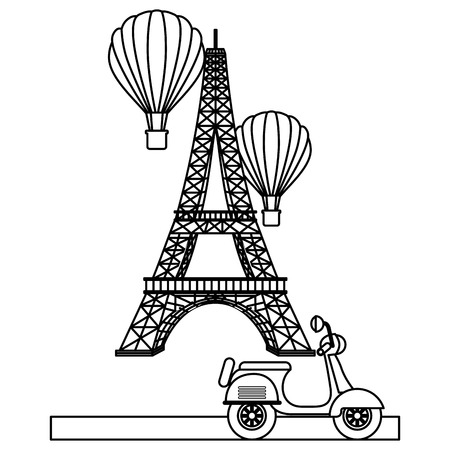 Tower eiffel paris scooter and hot air balloons vector illustration outline Illustration