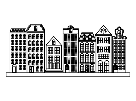 City downtown urban buildings architecture image vector illustration outline