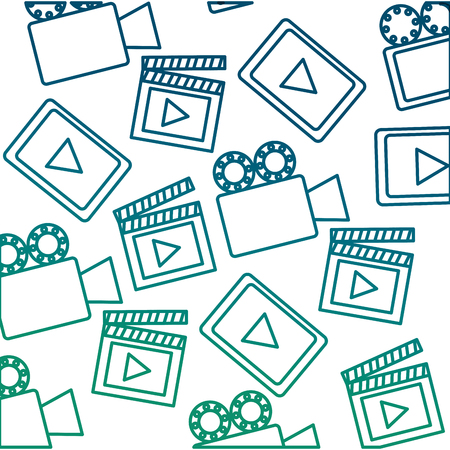 Set media player with camera film and clapper board pattern vector illustration design Stock Illustratie