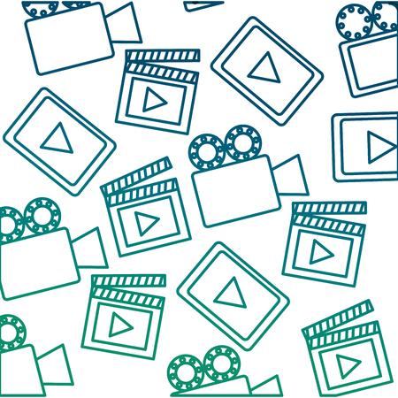 Set media player with camera film and clapper board pattern vector illustration design Illustration