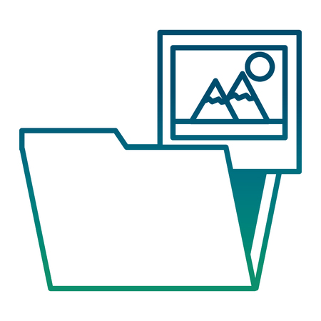 Folder document with picture file vector illustration design