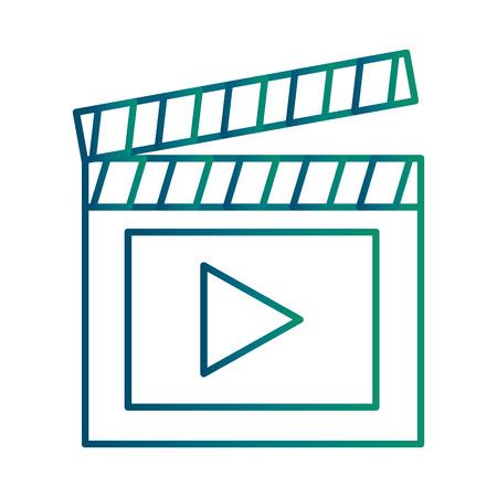 Clapperboard with media player symbol illustration design Illustration