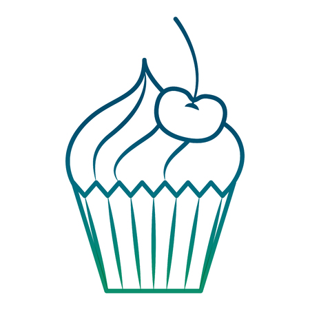 Delicious cup cake with cherry icon illustration design
