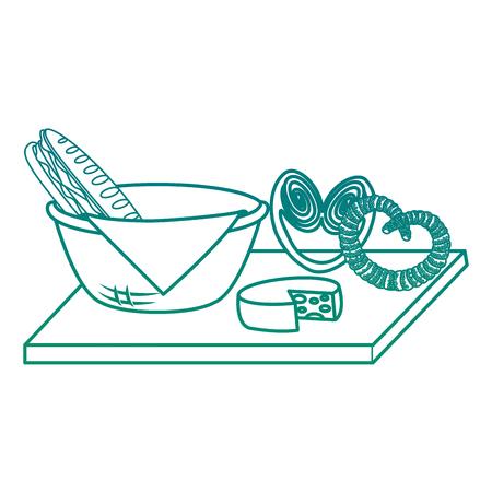 ナプキンと食品イラストデザインのバスケット  イラスト・ベクター素材