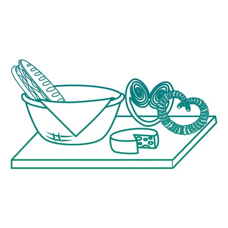 Basket with napkin and food illustration design