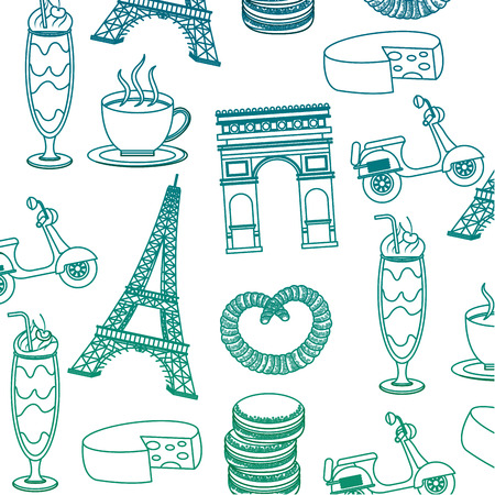 French culture set icons pattern illustration design Ilustração