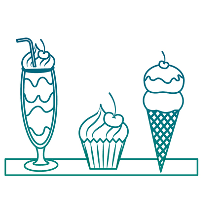 Milkshake with cup cake and ice cream illustration design Иллюстрация