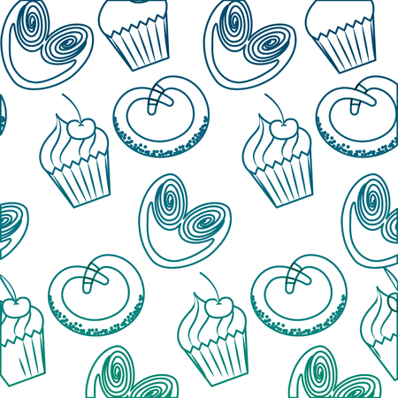 Cupcakes and pretzels pattern illustration design