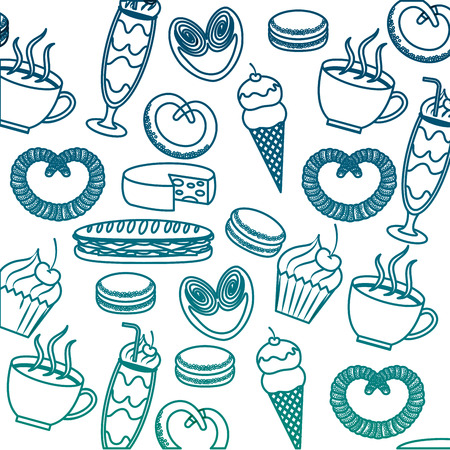 French culture food set icons pattern illustration design
