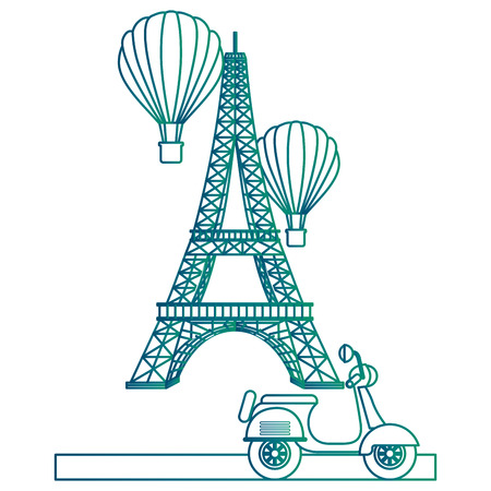 Eiffel tower with balloons air hot flying and motorcycle vector illustration design