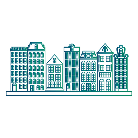 Retro cityscape buildings scene vector illustration design