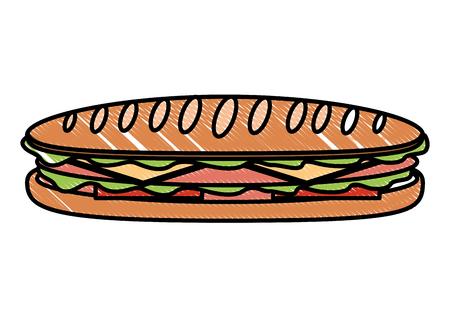Sandwich en baguette pan tomate queso jamón ilustración vectorial Foto de archivo - 99338550