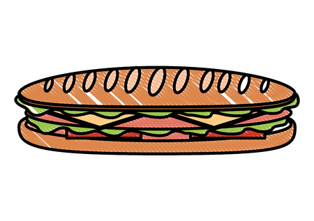 Sandwich in baguette bread tomato cheese ham vector illustration Çizim
