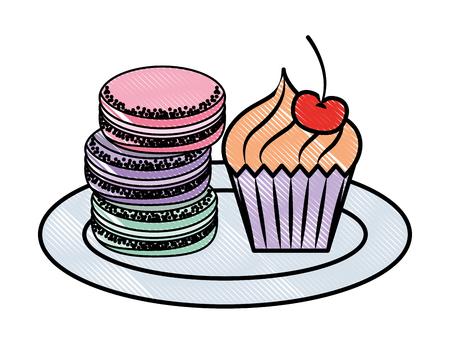 Macaroon cookies cupcake sweet bakery vector illustration