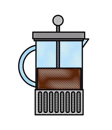 French press maker coffee fresh aroma vector illustration