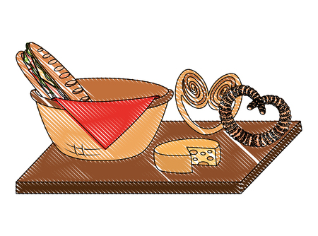 Wicker basket with sandwich and pretzel cheese on wooden vector illustration 向量圖像