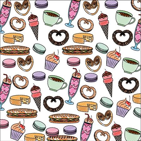 tasty sweet ice cream cake pretzel cheese coffee pattern image vector illustration