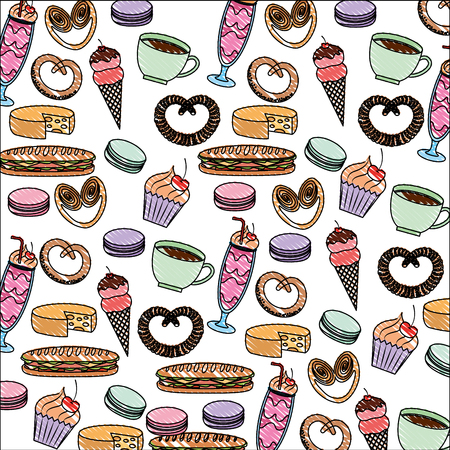 tasty sweet ice cream cake pretzel cheese coffee pattern image vector illustration