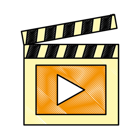 Clapper board video player action image vector illustration