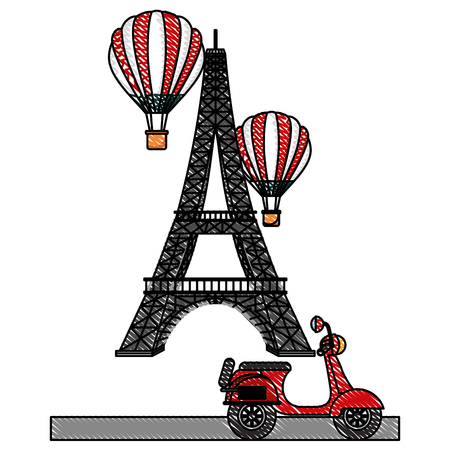 Tower eiffel paris scooter and hot air balloons vector illustration