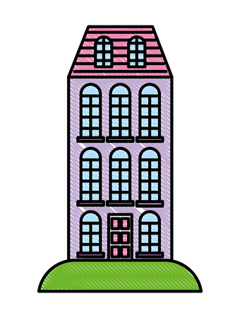 High building architecture urban image vector illustration Illustration