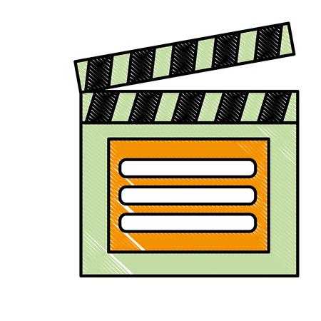 クラッパーボードビデオプレーヤーアクション画像ベクトルイラスト 写真素材 - 99338618