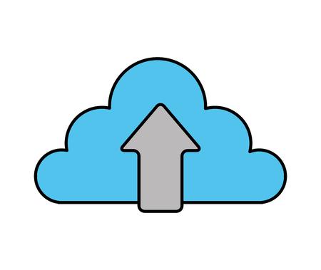 cloud storage upload arrow data vector illustration